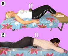Рис. 9. Торможение ортостатической синергии диафрагмальным дыханием и грузом. Обозначения: а – в положении на спине, б – в положении на животе