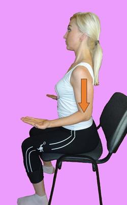Рис. 8. Релаксация передних зубчатых и малых грудных мышц с помощью кранио-каудального давления локтями