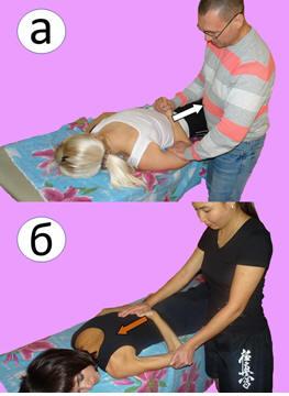 Рис. 8. Мобилизация плечевого сустава в направлении внутренней ротации в по-ложении лёжа на животе при болевом синдроме низкой интенсивности. Обозна-чения: а – первая фаза упражнения, б – вторая фаза упражнения