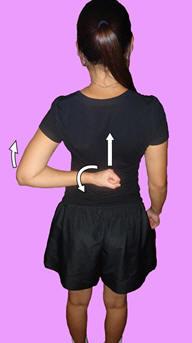 Рис. 11. Аутомобилизация плечевого сустава в направлении внутренней ротации