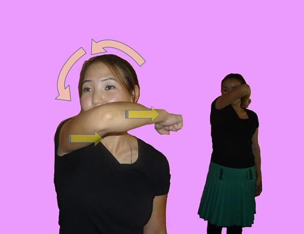 Рис. 5. Релаксация верхней части трапециевид¬ной мышцы, мышцы поднимающей лопатку, разгибателей шеи и головы методом баллистического стретчинга: па¬циент быстро ротирует голову в сторону напряжённых мышц - навс¬тречу согнутой руке.