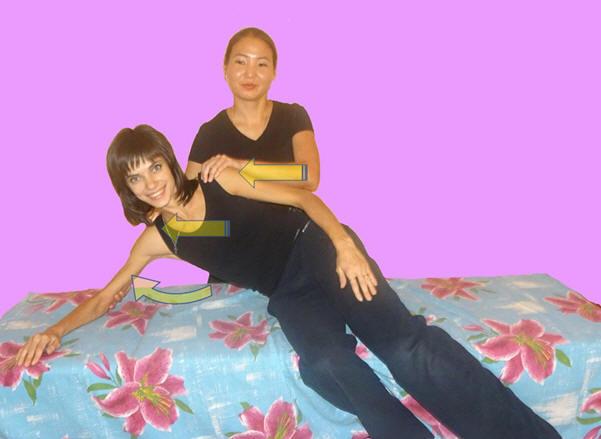 Рис. 13. Нормализация стереотипа отведения плеча с использованием рефлекса равновесия.