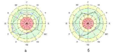 Круговые диаграммы практически здорового человека (а - до просмотра программы, б - после)